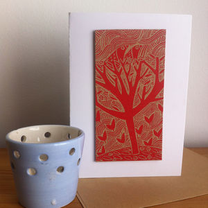 Nest Hand Printed Greeting Card - christmas cards