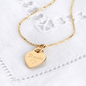 Personalised Petite Yellow Gold Heart Charm Necklace - necklaces & pendants
