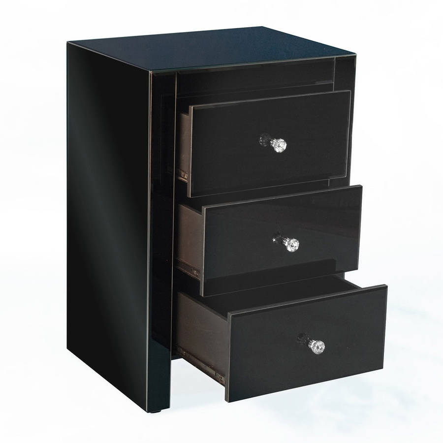 Black three drawer mirrored bedside table by out there interiors black three drawer mirrored bedside table watchthetrailerfo