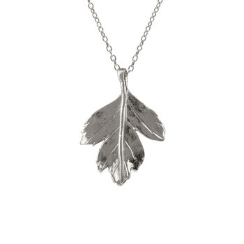 Sterling Silver Hawthorn Leaf Necklace