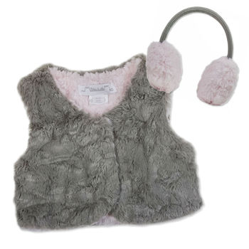Silky Soft Gilet And Ear Muff Set