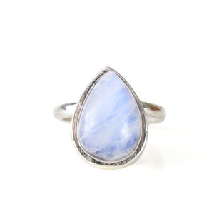 Large Statement Sterling Silver Teardrop Moonstone Ring - rings