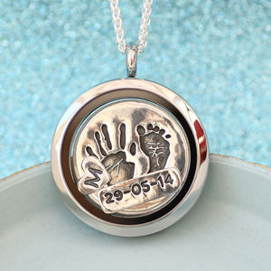 Handprint And Footprint Floating Charm Locket - necklaces & pendants