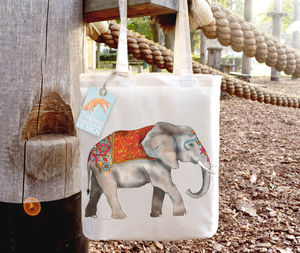 Decorated Elephant Cotton Tote Bag