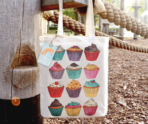 Cupcakes Illustration Cotton Tote Bag