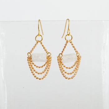 Gold And White Quartz Dangling Earrings
