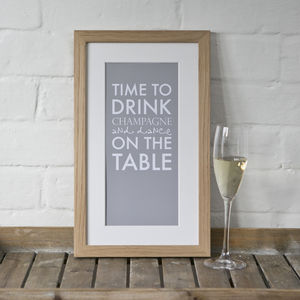 Personalised 'Time To Drink Champagne' Print - engagement gifts
