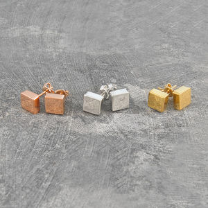 Disc Square Silver/Gold Stud Earrings