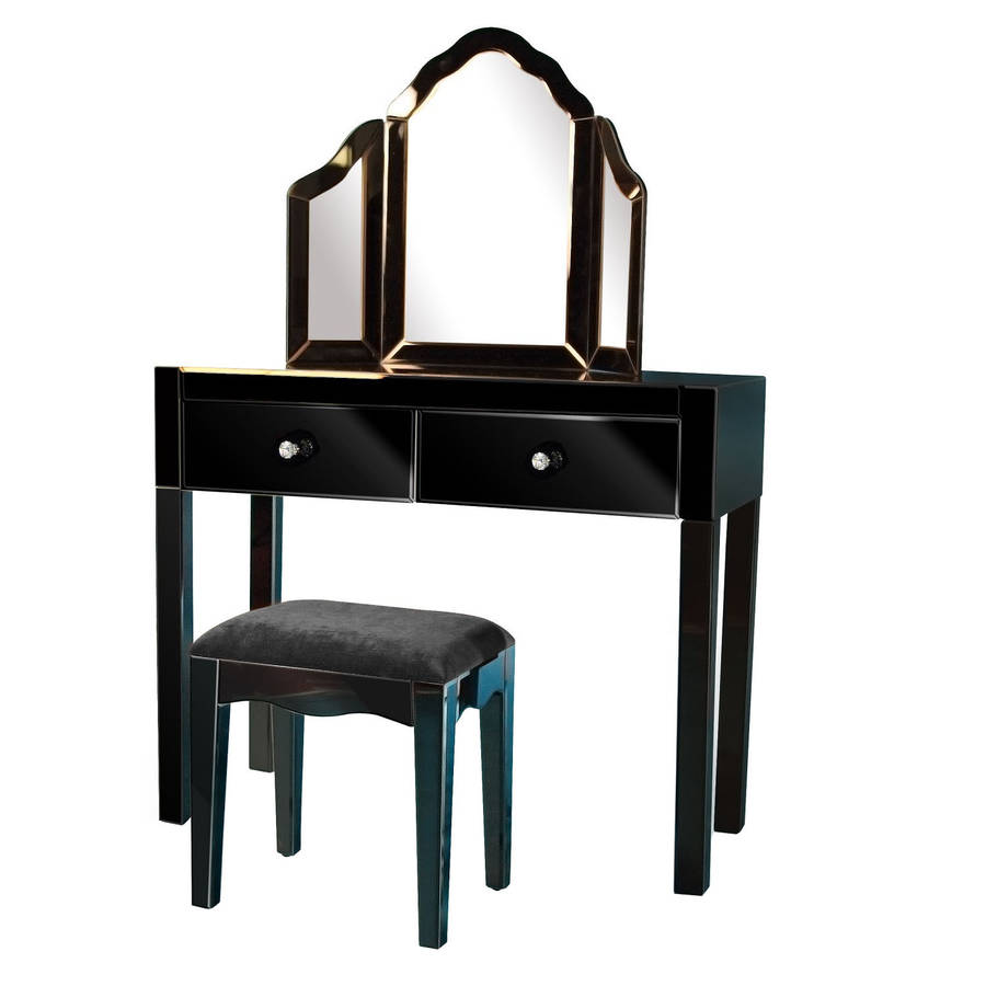 Mirrored dressing table set in mirrored or black by out for Mirror table