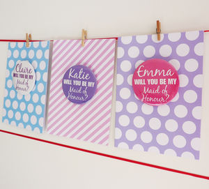 Be My Maid Of Honour Card With Badge - be my bridesmaid?