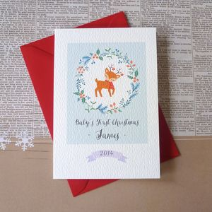 Little Deer Baby's First Christmas Card - cards