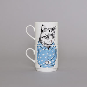 Cat's Pyjamas Stackable Tea Mug Set