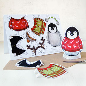 'Dress Up A Penguin' Christmas Card