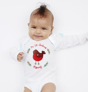 Personalised My 1st Christmas Robin Vest