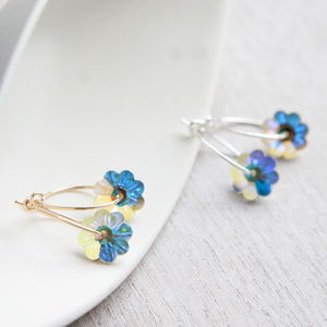 Flower Hoops Elaborated With Swarovski Crystals - earrings