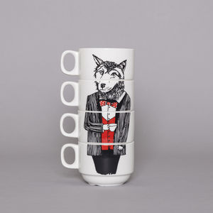 Mr Wolf Stacking Coffee Cups - tableware