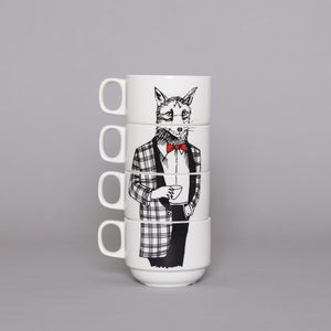 Mr Fox Stacking Coffee Cups