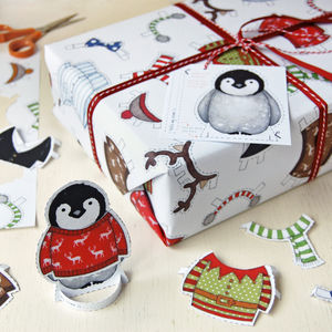 Dress Up A Penguin Christmas Wrapping Paper Set - ribbon & wrap