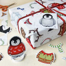 Dress Up A Penguin Christmas Wrapping Paper Set