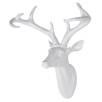 White Resin Stag Head - Large