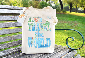 Let's Travel The World Cotton Tote