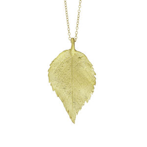 18k Gold Plated Raspberry Leaf Necklace