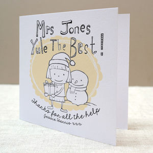 Personalised Teacher's Christmas Card
