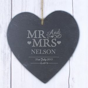 Mr And Mrs Personalised Heart Wedding Slate - art & decorations