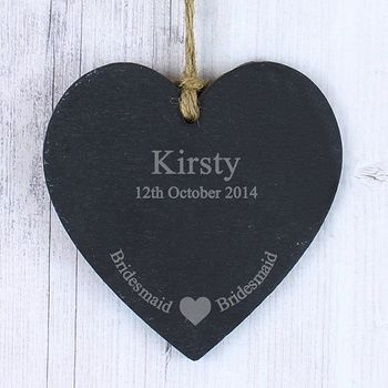 Bridesmaid Personalised Thank You Heart Slate