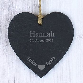 Brides Personalised Slate Heart Decoration