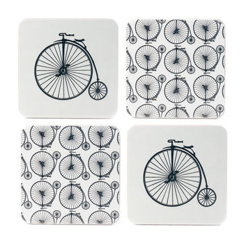 Set Of Four Penny Farthing Coasters