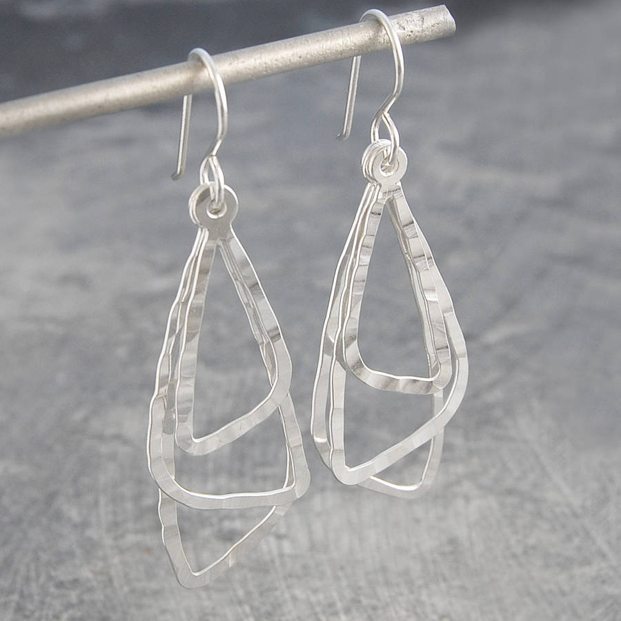 Silver Hammered Textured Hook Jewellery Earrings