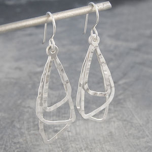 Hammered Silver Triple Triangular Drop Earrings