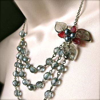 Wrapped Grey And Red Flower Statement Necklace