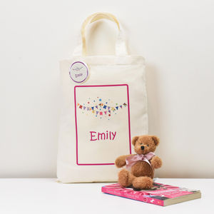 Personalised 'Children's Mini Tote Bag' And Badge - ribbon & wrap