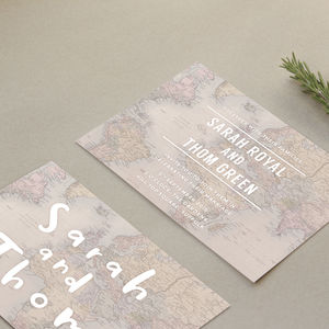 Globe Trotter Wedding Stationery - save the date cards
