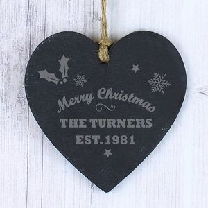 Merry Christmas Personalised Heart Slate - tree decorations