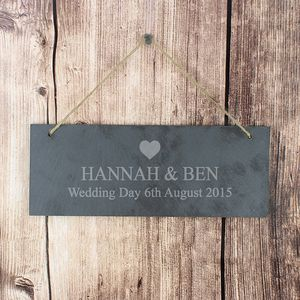 Heart Motif Personalised Wedding Slate Plaque Sign - hanging decorations