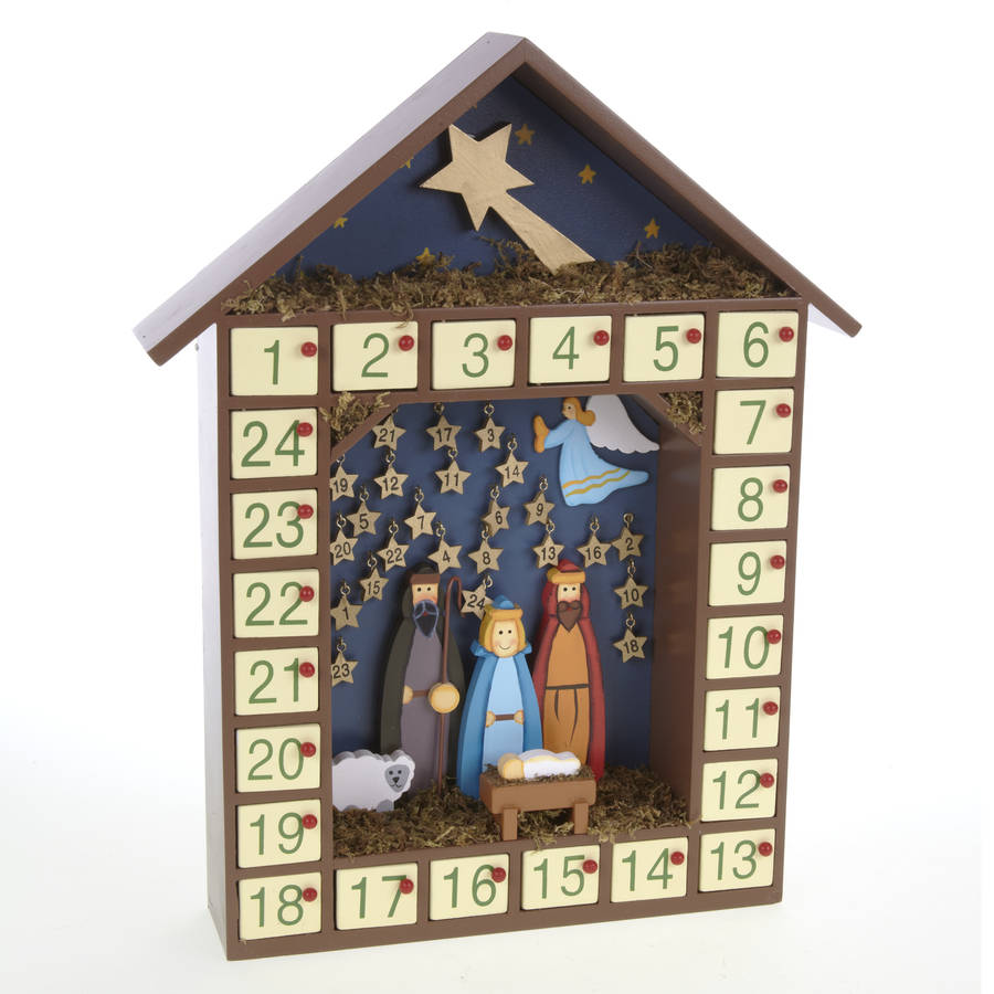 Wooden Advent Calendar Kits Wooden Nativity Stars Advent Calendar Next