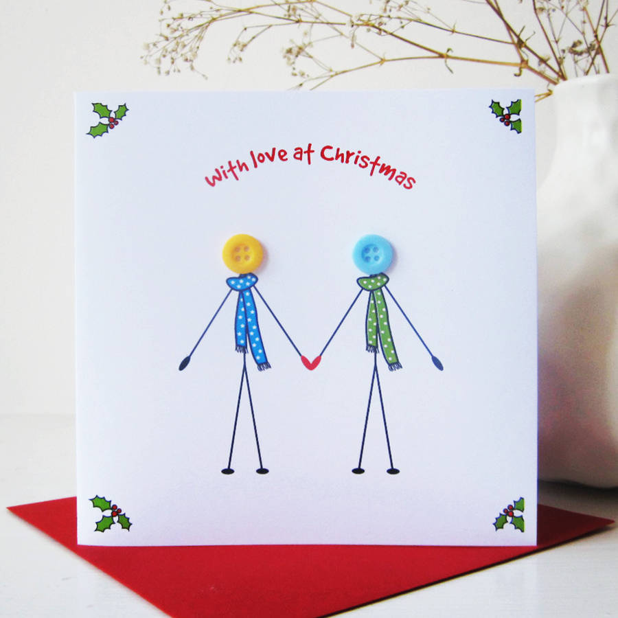 Husband And Wife Button Christmas Card By Mrs L Cards