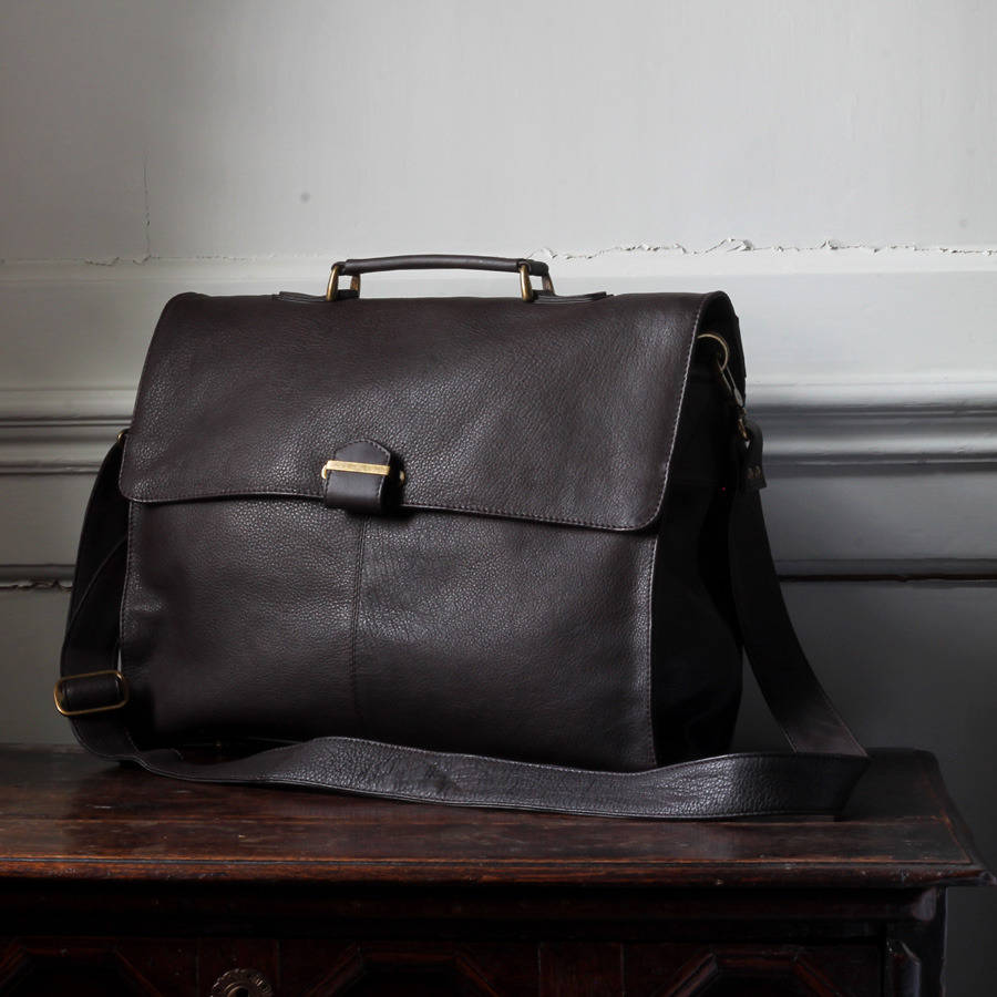 59074b153478 men s leather briefcase with shoulder strap by nv london calcutta ...