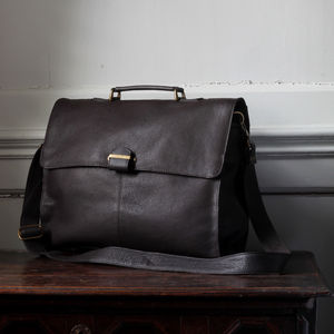 Berkeley: Men's Leather Briefcase With Shoulder Strap