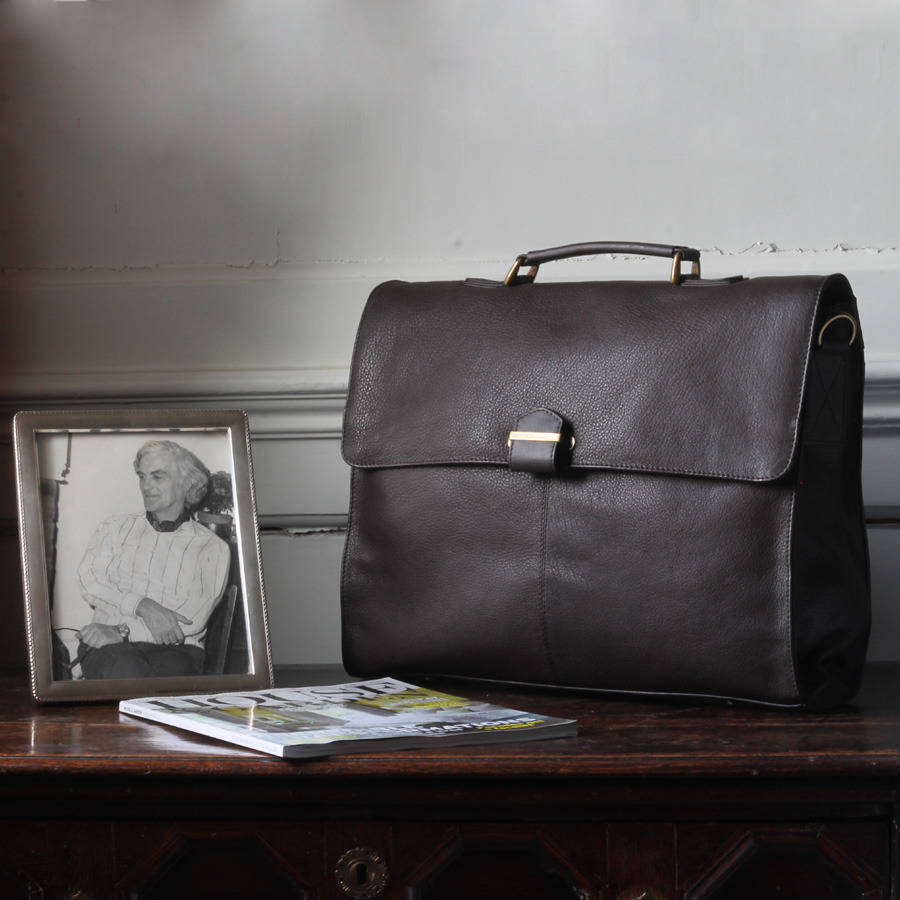 15e9a5f5ac men's leather briefcase with shoulder strap by nv london calcutta ...