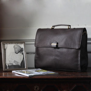 Men's Leather Briefcase With Shoulder Strap