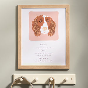 Personalised Pet 'likes' Portrait Print