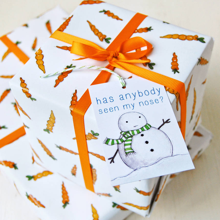 Christmas Carrot Wrapping Paper Set By Clara And Macy