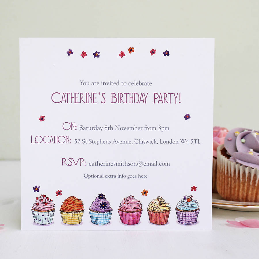 Personalised Cupcake Party Invitations