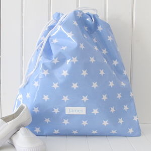 Star Personalised Oilcloth Drawstring Kit Bag - children's room
