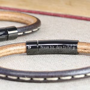 Engraved Men's Stitched Leather Bracelet - view all sale items
