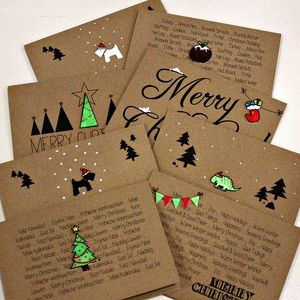Pack Of Eight Handmade Christmas Cards